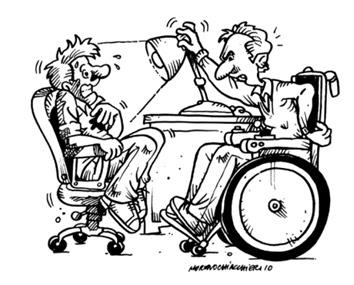 Fumetto di una persona su una sedia a rotelle che studia un'altra persona