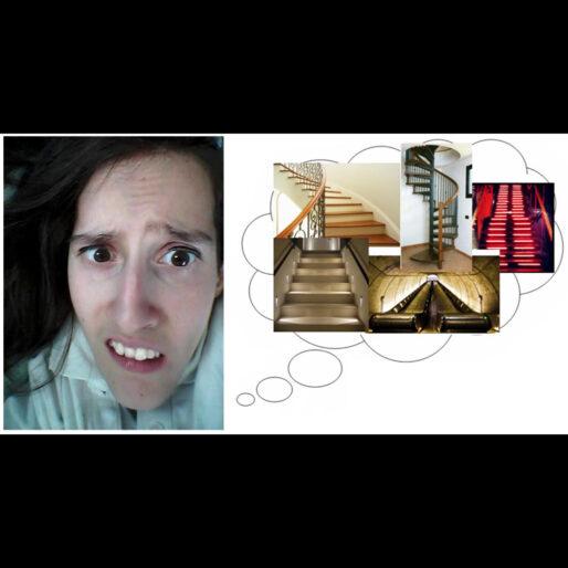 Elena stressata mentre pensa alle scale (tante foto di scale in una nuvoletta)