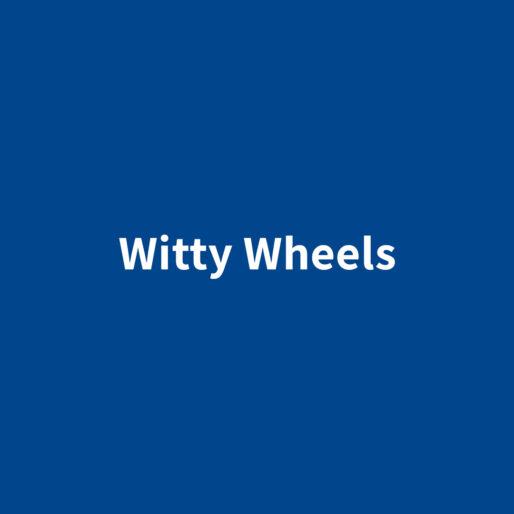 Witty Wheels banner blu