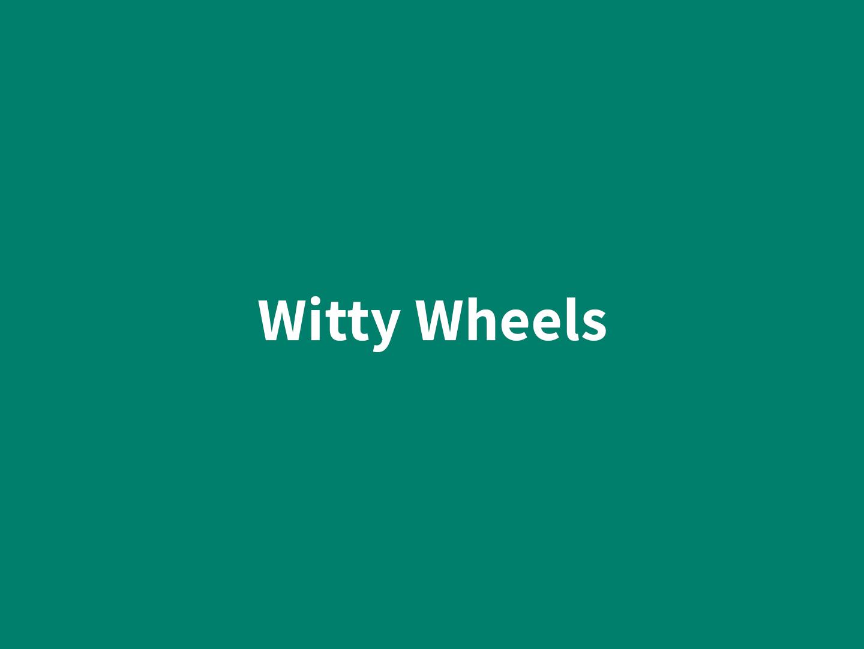 witty wheels banner verde