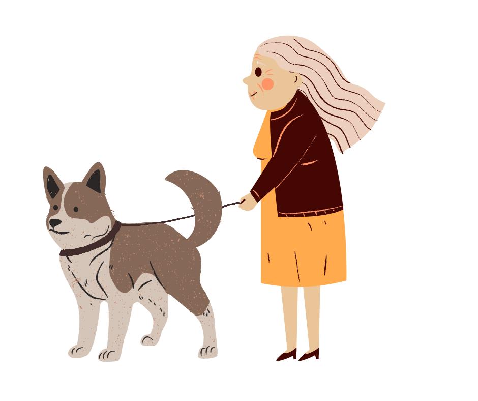 vignetta con il disegno di una donna e un cane al guinzaglio